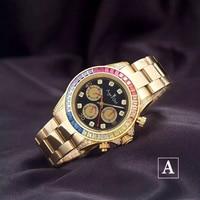 Luxury New Brand Mens Automatic Mechanical Rainbow Diamonds Stainless Steel Silver Rose Gold Black Classic Gent's Watch Daytona