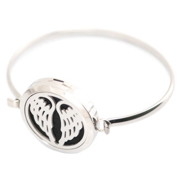 New design 5pcs Angel Aromatherapy / 316L s.steel Essential Oils Diffuser Locket bangle 7''-8''wrist and 20pcs felt pads