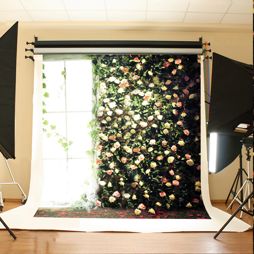 Wedding Photography Background Sun Window Flowers Computer Printing Backdrops Green Leaves Backdrops for Photographic Studio