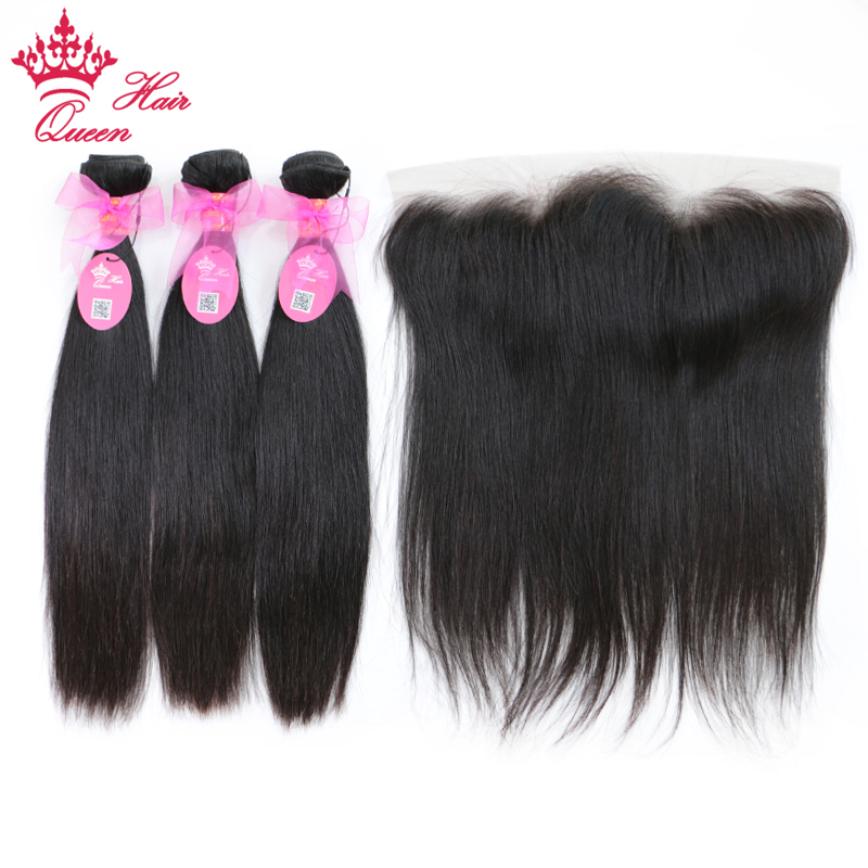 Queen Hair Brazilian Straight Hair Weave 3 Bundles With 1 Piece Lace Frontal Closure Remy Human Hair Bundles Deal Free Shipping