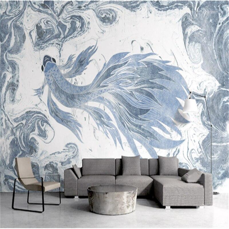 Us 21 91 47 Off Custom 3 D Modern Wallpaper Desktop 3d Home Wallpaper Hd Texture Blue Wallpaper For Walls Watercolor Goldfish Elegant Room Decor In