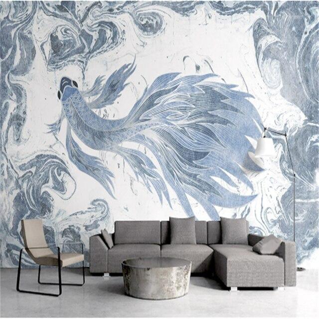 Custom 3 D Modern Wallpaper Desktop 3d Home Hd Texture Blue For Walls Watercolor