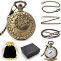 Bronze Pattern Compass Quartz Pocket Watch Metal Necklace Leather Chain Box Bag