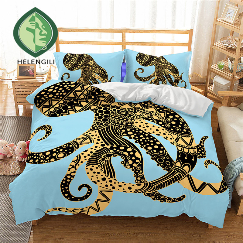 HELENGILI ensemble de literie 3D ensemble de housse de couette imprimé pieuvre literie réaliste avec taie d'oreiller ensemble de lit Textiles de maison #2-7