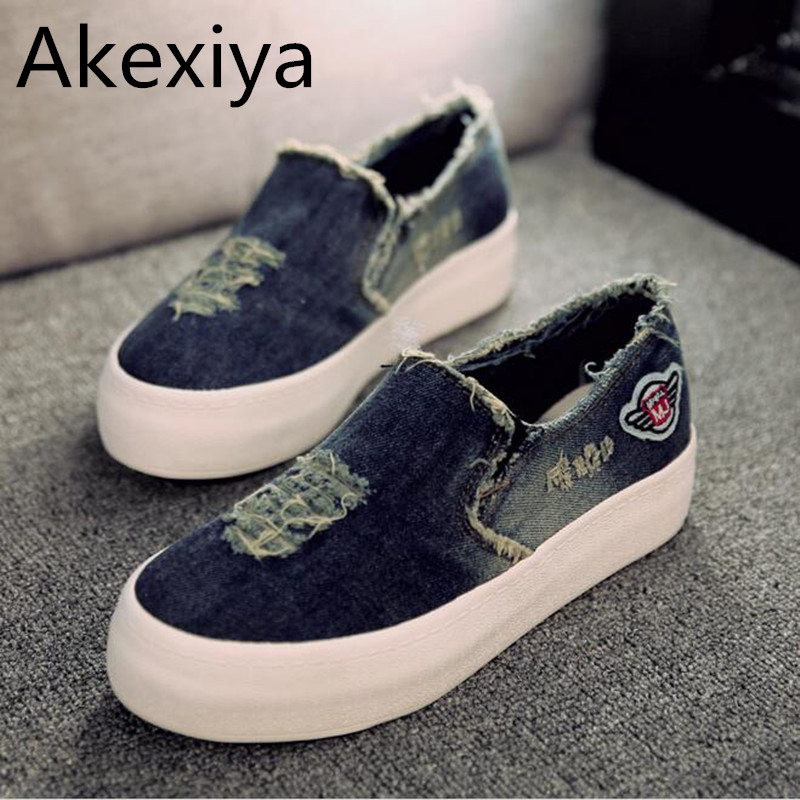 Akexiya New Womens Flats 2017 Casual Jean Canvas Casual Slip-On Round Toe Thick Sole Vintage Shoes hee grand 2017 spring summer men jeans full length business style slim fitted straight denim trousers plus size 29 40 mkn960