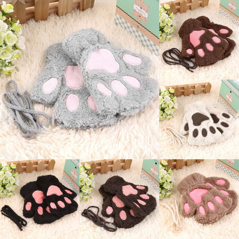 Winter Warmth Half Finger Fingerless Gloves Super Lovely Plush Gloves Women Bear Cat Animal Claw Mitten Girls Half Cover Gloves