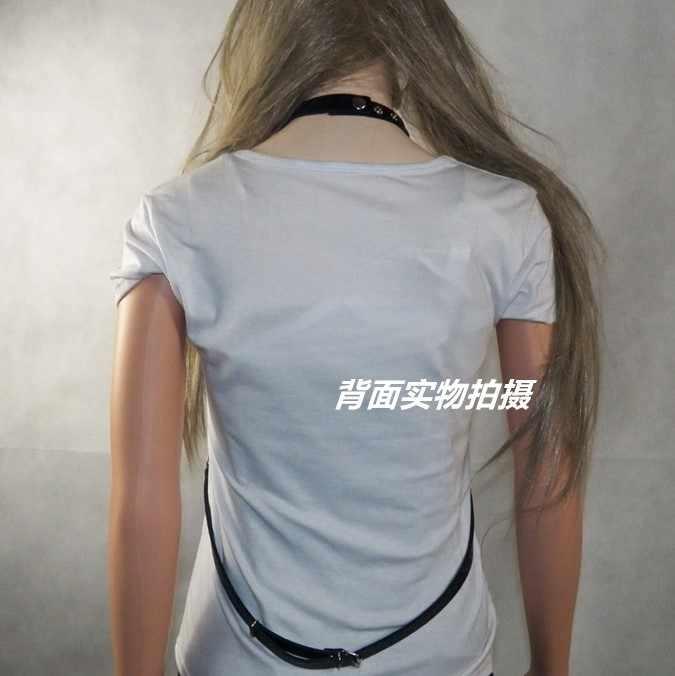 Yeni tasarım gotik Punk PU deri gerdanlık kolye seksi esaret sapanlar sütyen vücut demeti bel kemeri vücut zinciri kadın göbek takısı