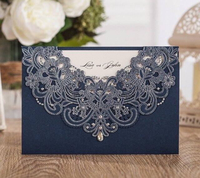 Wishmade Customizable Navy Blue Laser Cut Invitation Wedding Paper