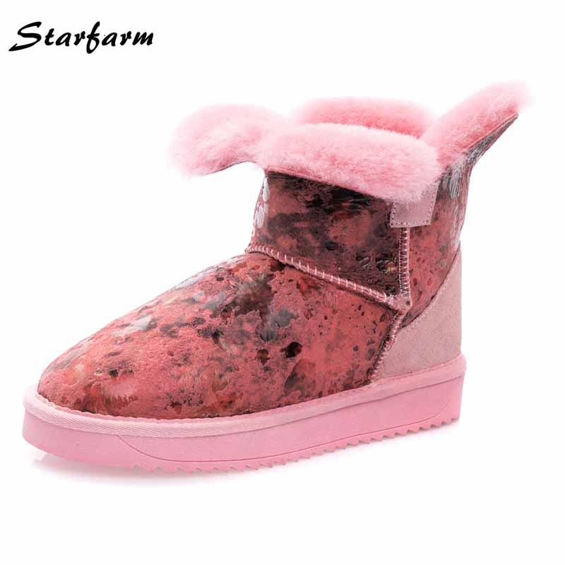winter shoes women sheepskin wool ankle fur snow boots australia genuine leather ladies ugs Short Booties SFWB-045 winter snow boots women australia sheepskin fur constellation short snow boots women genuine leather boots wholesale size 35 39