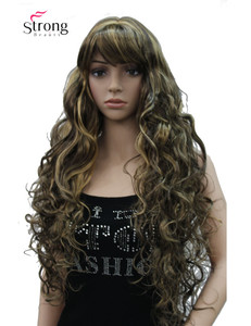 Image 4 - StrongBeauty Long Thick Wavy Black,Brown,Blonde Highlighted Synthetic Wig Women Wigs