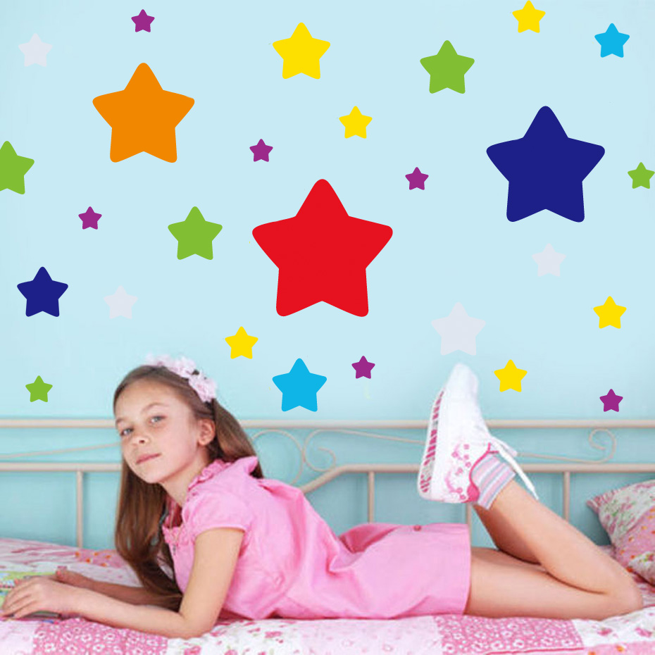 60PCS Rainbow color Big Small Stars Room Decor Wall Decals Stickers Children Nursery Kids Bedroom Living Room Mural Wall Art in Wall Stickers from Home Garden