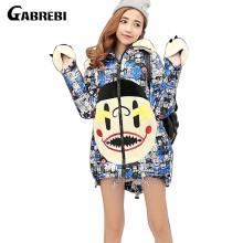 2016 Women Down Parkas Long Thick Winter Cartoon Print Fashion Women Coat Down Jacket Outerwears Plus Size Female Clothing