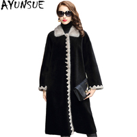 AYUNSUE 2019 Luxury Real Wool Fur Coat Female Sheep Shearing Coats Natural MInk Fur Trim Collar Long Winter Jacket Women 1821C