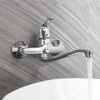 Extended Spout Bathroom Basin Faucet Single Handle Chrome Polished Sink Water Mixer Tap Cold And Hot Wall Mounted Faucets