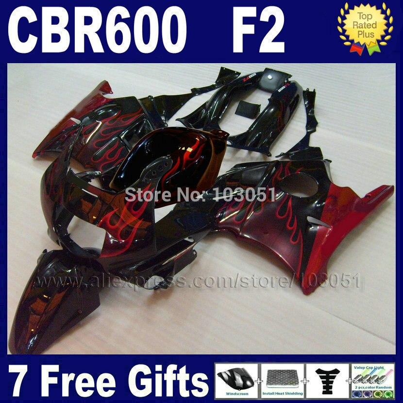 MOTO factory fairings set for Honda CBR600 F2 1991 1992 1993 1994 CBR 600 F2 92 93 CBR600 F 91 94 red flame black fairing kits