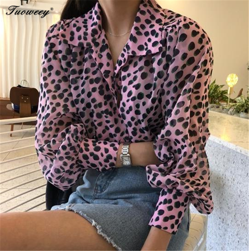Leopard Print Shirt Long sleeve V -Neck Top Loose Blouses