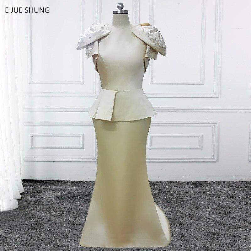 E JUE SHUNG Champagne sirène robes de soirée longue épaule grand arc perlée robes de soirée robes formelles Dubai robes arabes