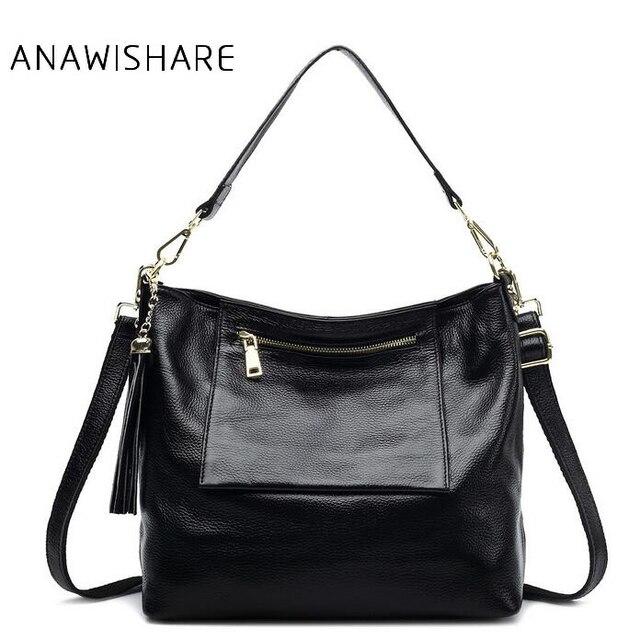 Anawishare Women Genuine Leather Handbag Tassel Real Shoulder Bag Cowhide Las Tote Cow