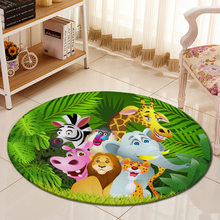 3D Jungle Animals Cartoon Carpet Chair Mat Flannel Area rug Baby Crawling Rugs Mats Kids Bed Room Big Round Carpets Living Room(China)