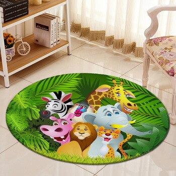 Alfombra de dibujos animados de animales de la selva en 3D, alfombra de franela, Alfombra de área, alfombras para gatear de bebés, alfombrillas para habitación de niños, alfombras redondas grandes para sala de estar