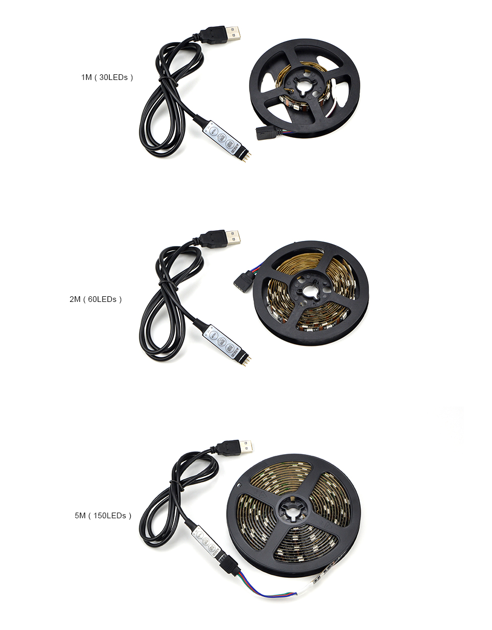HTB1OD8.KbSYBuNjSspfq6AZCpXaw - DC 5V 5050 SMD RGB USB LED strip Light Ribbon tape 1M 2M 3M 4M 5M USB charger LED lamp 3key 17key 24key RGB remote control
