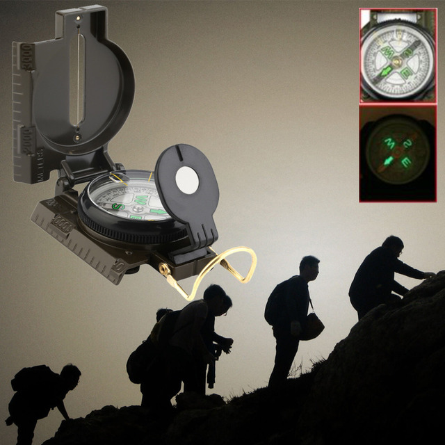 Hot Sale Portable Folding Lens Compass American Military Multifunction New NVIE free shipping