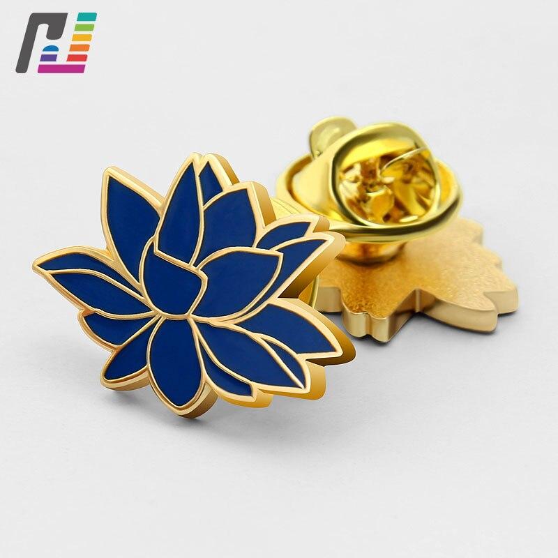 3D Lotus Shape Metal Pins Brooches For Women Custom Flower Hard Enamel Lapel Pin Bagde Buy at Least 50PCS