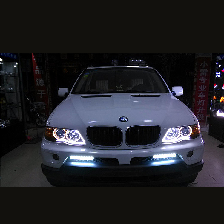 бесплатная доставка высокое качество лента Белый-Янтарный switchback светодиодные ДХО оторвать глаз 2шт дневные подножка Лампа гибкие светодиодные фары