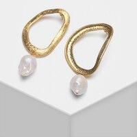 Amorita boutique Irregular asymmetric hollow design pearl drop earrings
