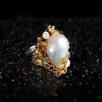 S925 Серебро инкрустированные жемчужина барокко кольцо в форме бусы натуральный Пресноводные ювелирных изделий шариков оптовая продажа Отк