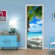 White Beach and Coconut Trees Door Sticker