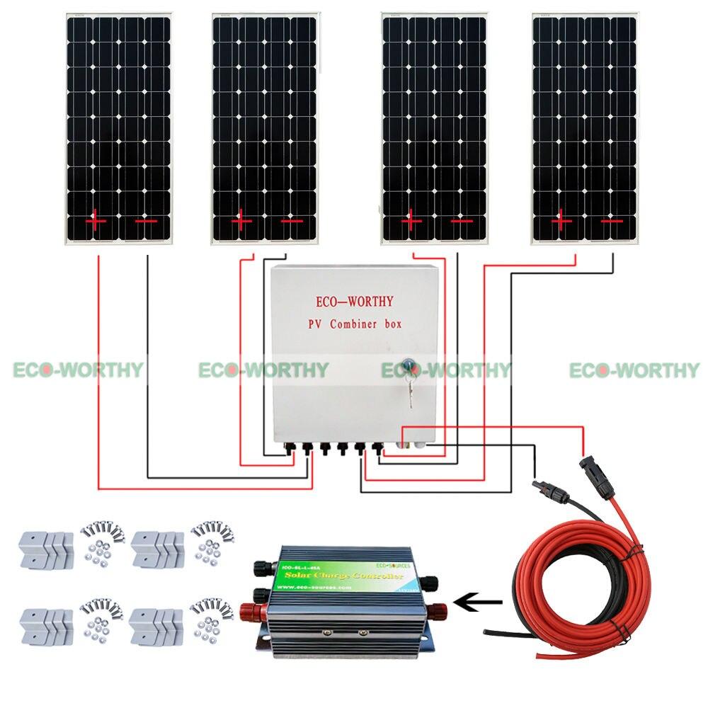 100W Mono Solarpanel 400W Solaranlage off Grid + Solar Combiner Box