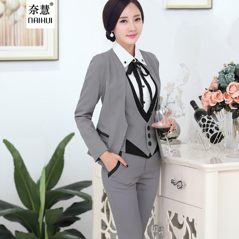 Formal Business Suits Clothes 2016 Autumn Fashion Elegant Full Sleeve V Neck VestblazerShirt ...