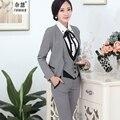 Novedad moda primavera, ropa elegante para mujeres profesionales y ejecutivas de algodón con escote en V, uniforme de 5 piezas, traje, camisa, chaleco, falda y pantalón