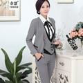 Uniforme conjuntos 5, calças, saia, camisa, traje, coletes, de algodão estilo feminino gola V elegante nova moda de primavera / roupas de negócios profissionais