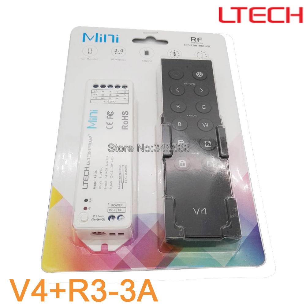 LTECH V4 LED 2.4G Wireless Remote RGBW Controller + DC5-24V 12A R4-3A Receiver Blister Set work with RGBW LED Strip/Panle Light