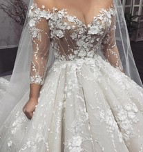 2019 Luxury Ball Gown Lace Wedding Dress Vintage Long Sleeve Vestido De Noiva Sexy See through Lace Flowers Bridal Gowns