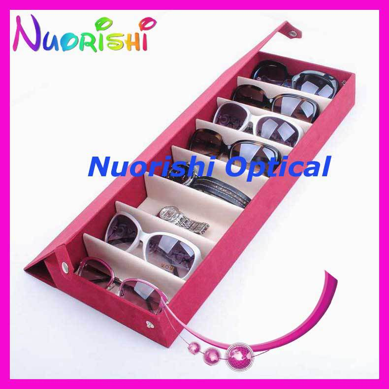 f75934690e A626 8S Four Colors Nice Suded Sunglass Eyeglass Eyewear Glasses Display  Storage Case Box Tray Holding 8 pcs free shipping-in Accessories from Men s  ...