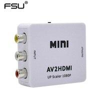 Venta caliente Blanco RCA AV HDMI CVBS al Adaptador de HDMI HD 720 P 1080 P AV a HDMI Mini av2hdmi Convertidor de vídeo