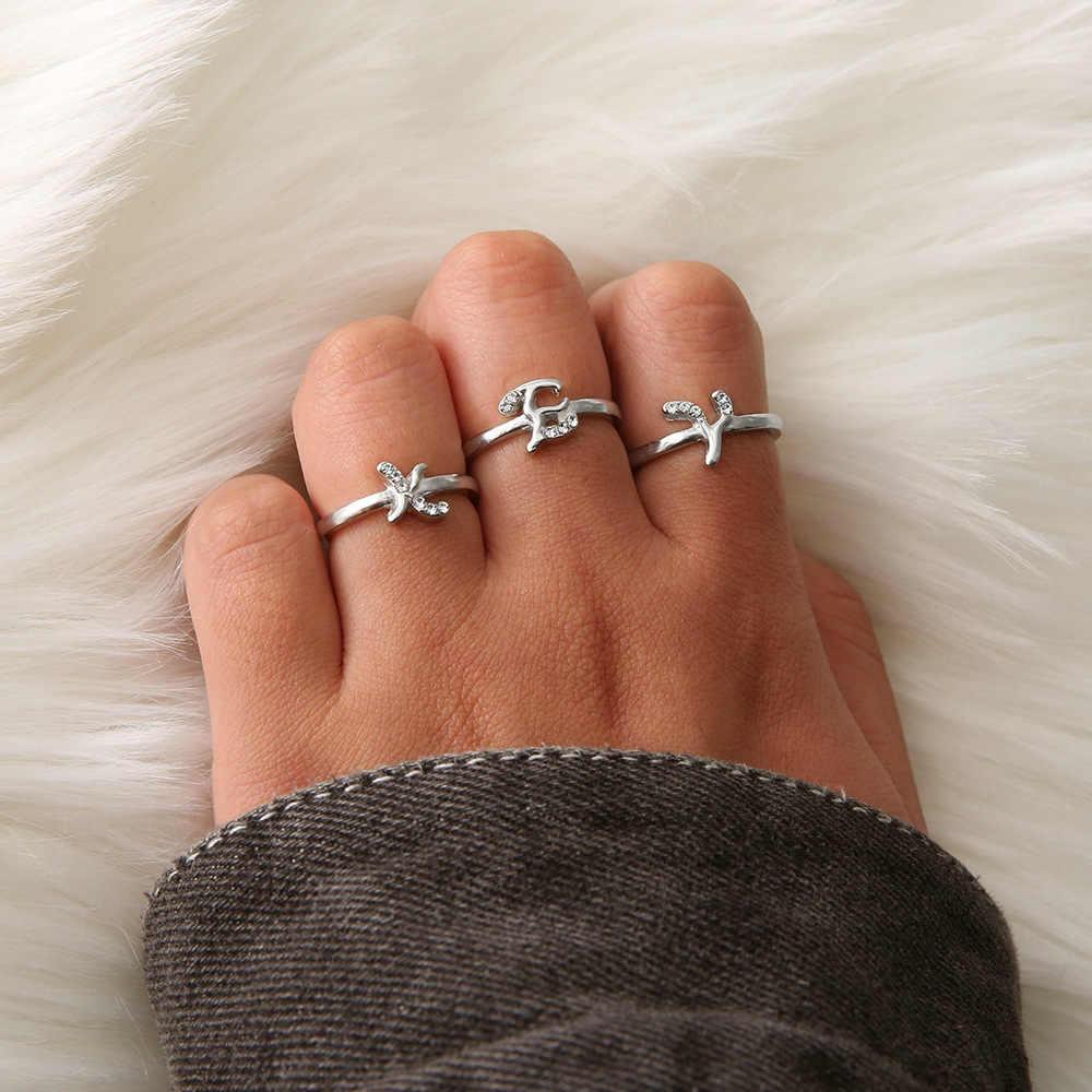 בואנוס חדש אופנה Boho קריסטל 26 מכתב טבעת AZ כסף עלה זהב צבע מתכוונן טבעות לנשים תכשיטים אירוסין מתנות