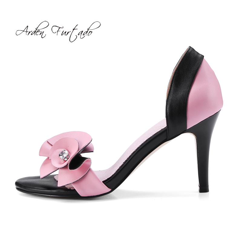 Arden Furtado 2018 summer high heels buckle strap flowers genuine leather fashion sandals shoes for woman stilettos party shoes