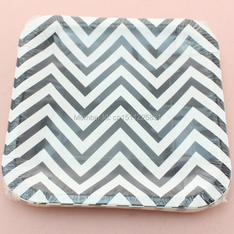 Disposable 7  Chevron Paper Plates Birthday Baby Shower Party Supplies Square Paper Plates-in Disposable Party Tableware from Home u0026 Garden on ...  sc 1 st  AliExpress.com & Disposable 7