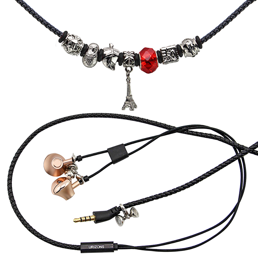URIZONS 3.5mm wired bracelet earphones charm beads magnet Stereo bass music Earphones Auriculares Headset For iphone xiaomi PC ubeauty 8004 fashionable sweet starfish anchor beads charm bracelet white brass