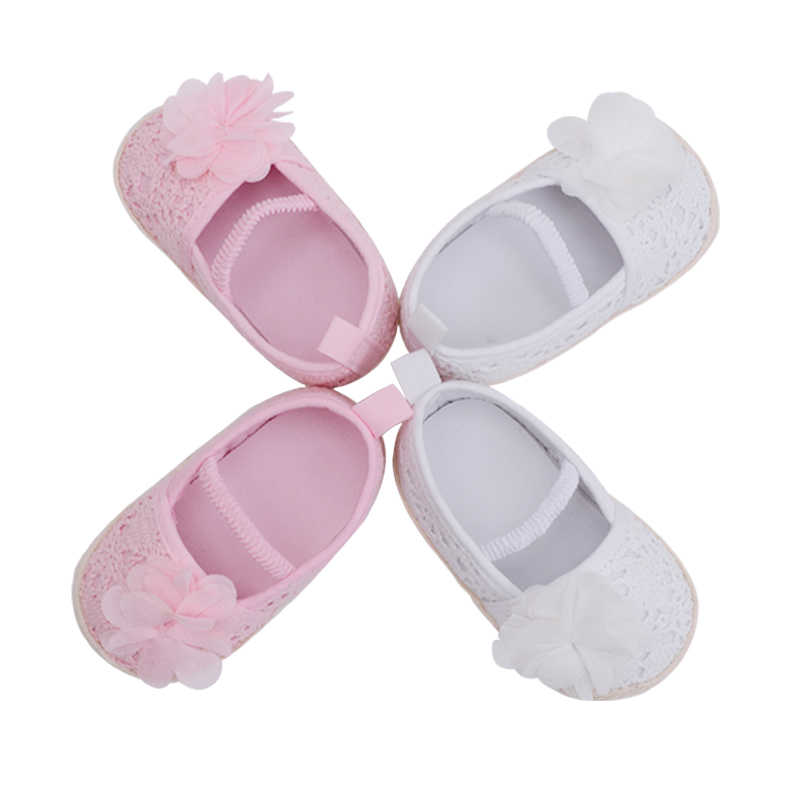 ad6fd6fd02468 ... Hand-made Knitting Infant Baby Princess Girls Shoes Pink White Shallow  Toddler Flower Anti