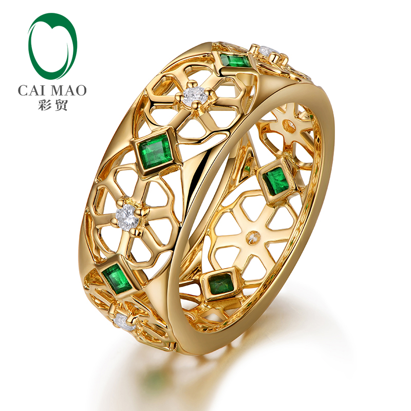 f7245cffff9a2 Caimao 14kt Yellow Gold 0.37ct Natural Princess Emerald Full Cut Diamond  Wedding Band for Mens
