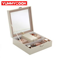 Fashion PU Leather Women's Jewelry Boxes Earrings Necklace Case Storage With Lock and Key Organizer Accessories Supplies Product