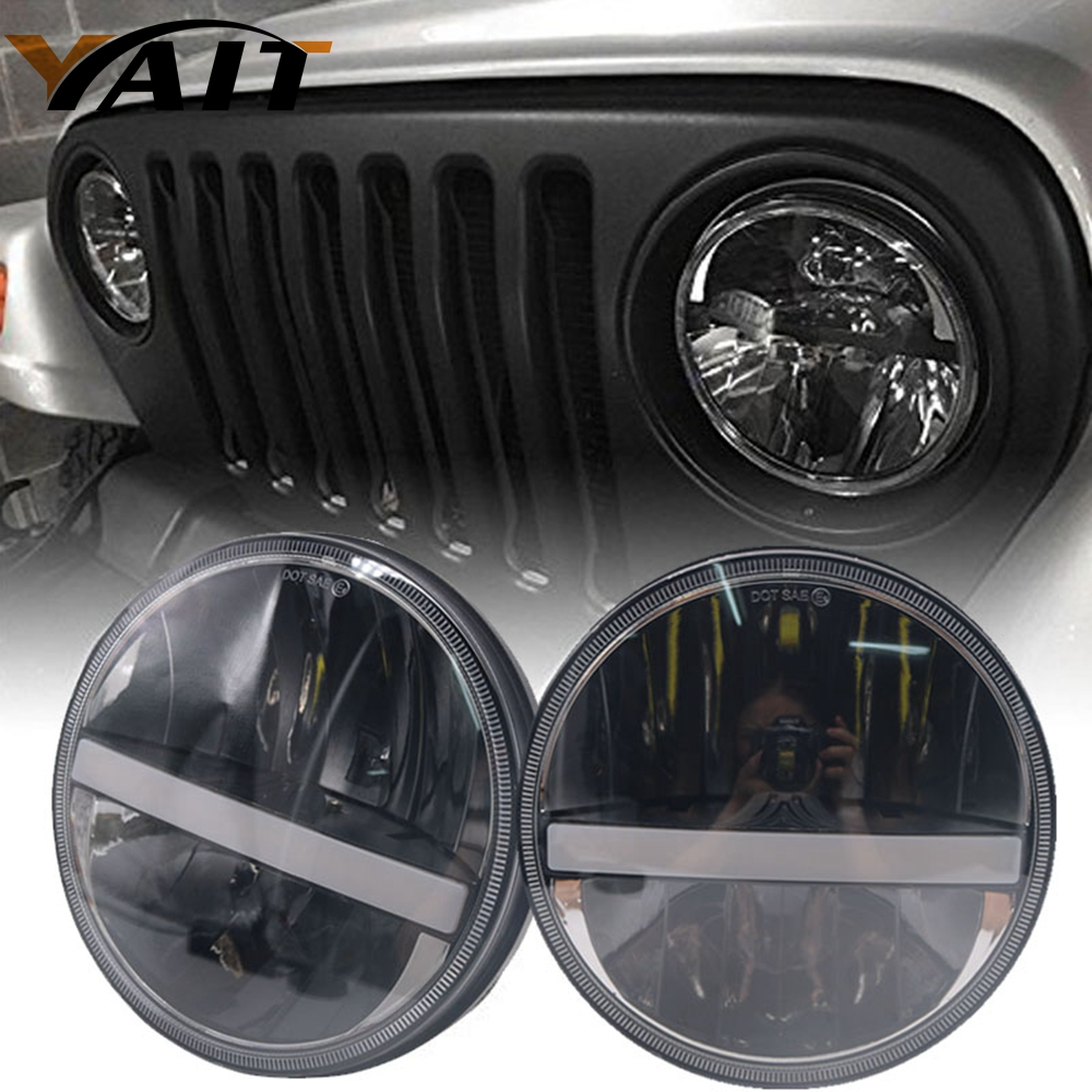 Yait Led For Jeep JK 7 Round Headlight Led For Jeep Wrangler 97-15 Hummer Toyota Defender 7Inch LED Harley Motorcycle Headlamp