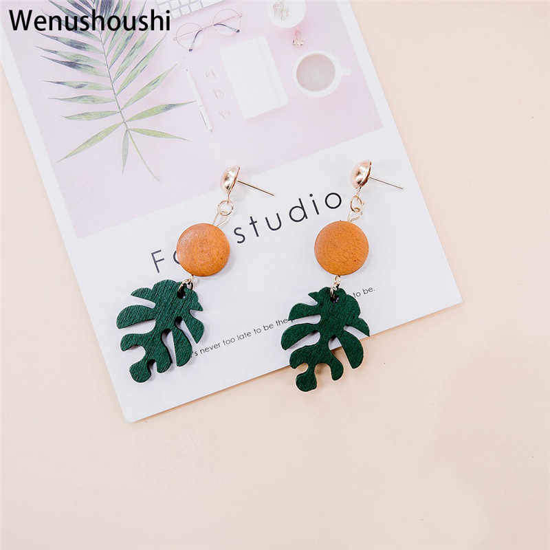 WENUSHOUSHI Plant Bohemian Monstera Leaf Drop Earrings for Women Tropical Brincos Jewelry Party Gifts wufj008