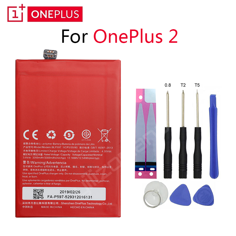 ONEPLUS Original Phone Battery For Oneplus 2 A2001 BLP597 3200/3300mah High Quality Replacement Li Ion Batteries Free Tools