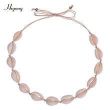 HIYONG Natural Shell Necklace Choker for Women Seashell Cowrie Handmade Cord Beach Jewelry Summer